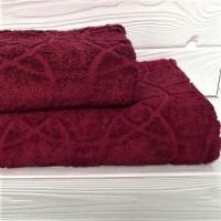 Жаккардовое полотенце Туркменистан бордо