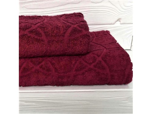 Жаккардовое полотенце Туркменистан бордо 2204 от АDТ в интернет-магазине PannaTeks