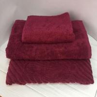 Махровое полотенце Туркменистан бордовое