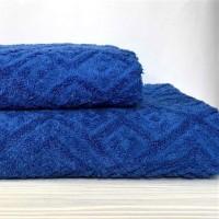 Жаккардовое полотенце Туркменистан синее