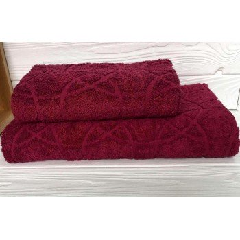 Жаккардовое полотенце Туркменистан бордо фото 1