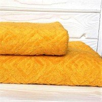 Жаккардовое полотенце Туркменистан желтое