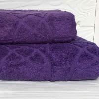 Жаккардовое полотенце Туркменистан фиолет