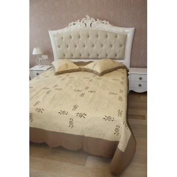 Покрывало на кровать хлопок стеганое Кантри вышивка 155108 с наволочками
