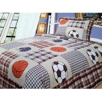 Подростковое покрывало на кровать хлопок стеганое Мячик