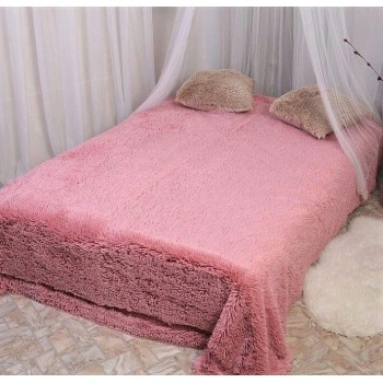 Плед длинный ворс розовый