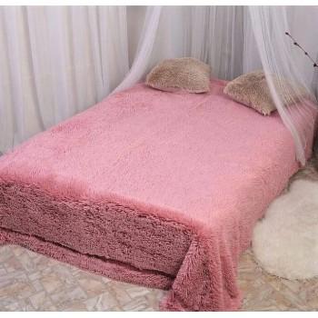 Плед травка длинный ворс розовый
