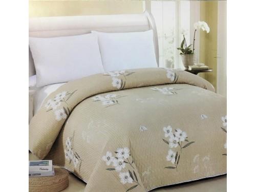 Покрывало на диван стеганое двустороннее евро 230х250 Soft Cotton бежевое, Китай 130112 от ALLTEX в интернет-магазине PannaTeks