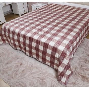 Велюровое покрывало на диван двуспальное 210х240 в клетку Moire Velour 130203