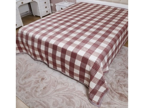 Велюровое покрывало на диван двуспальное 210х240 в клетку Moire Velour 130203 130203 от ALLTEX в интернет-магазине PannaTeks