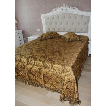Атласное покрывало на кровать стеганое Венеция Бахрома 145120 евро