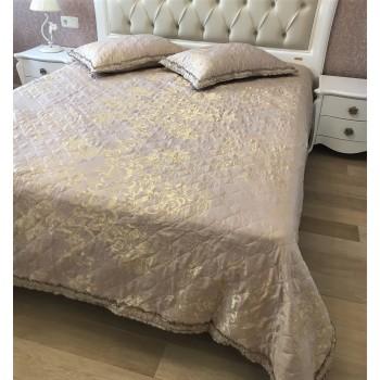 Покрывало атласное на кровать стеганое Жаккард Рюшь 146101 евро