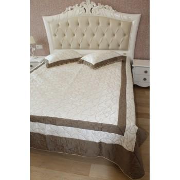 Атласное покрывало на кровать стеганое евро 230х250 Bluedream Cream 180101 фото 1