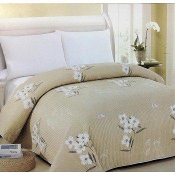 Покрывало на диван стеганое двустороннее евро 230х250 Soft Cotton бежевое, Китай