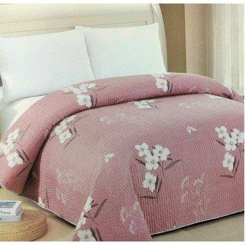 Покрывало на диван стеганое двустороннее евро 230х250 Soft Cotton 130116 розовое