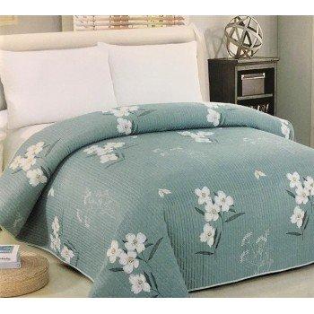 Покрывало на диван стеганое двустороннее евро 230х250 Soft Cotton зеленое, Китай