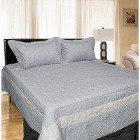 Атласное покрывало на кровать стеганое евро 230х250 Bluedream Grey 180105
