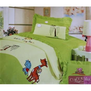 Детское постельное белье сатин Приключения зверят