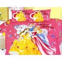 Детское постельное белье сатин Принцессы Диснея розовое