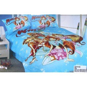 Детское постельное белье для девочек сатин Феи Винкс голубой