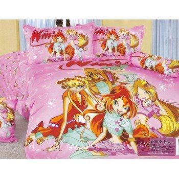 Детское постельное белье для девочек сатин Феи Винкс розовый