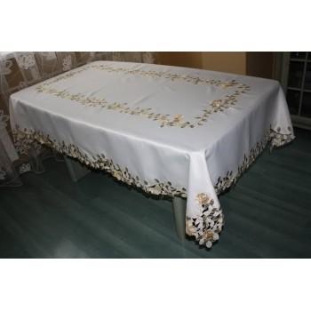 Атласная скатерть круглая/прямоугольная с вышивкой Золотые розы фото 2