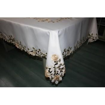 Атласная скатерть круглая/прямоугольная с вышивкой Золотые розы фото 1