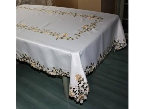 Атласная скатерть круглая/прямоугольная с вышивкой Золотые розы 1162 от ALLTEX в интернет-магазине PannaTeks