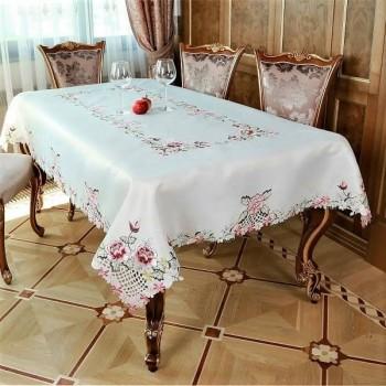 Атласная скатерть круглая/прямоугольная с вышивкой Алиса 1610 от ALLTEX в интернет-магазине PannaTeks