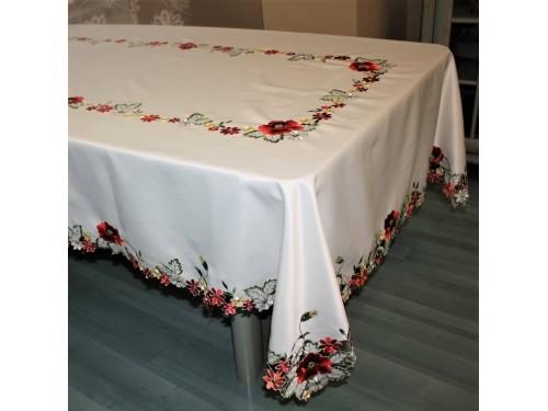 Атласная скатерть круглая/прямоугольная с вышивкой Красные Маки 8142 от ALLTEX в интернет-магазине PannaTeks
