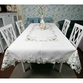 Атласная скатерть круглая/прямоугольная с вышивкой 96111 белая фото 1
