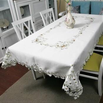 Атласная скатерть круглая/прямоугольная с вышивкой 96111 белая фото 2