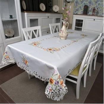 Атласная скатерть прямоугольная белая с вышивкой 26440 фото 2