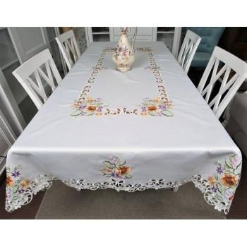 Атласная скатерть прямоугольная белая с вышивкой 26440 фото 1