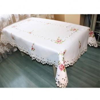 Атласная скатерть прямоугольная белая с вышивкой 3053 фото 1