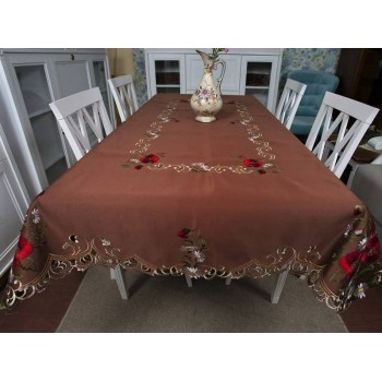 Атласная скатерть на стол с вышивкой прямоугольная Шоколадный мусс фото 1