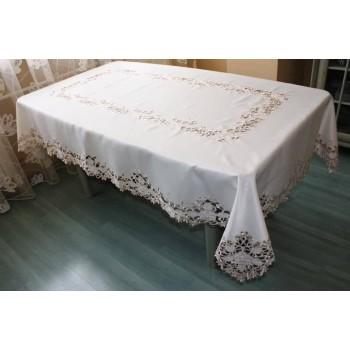 Атласная скатерть круглая/прямоугольная с вышивкой Кружевная роза фото 1