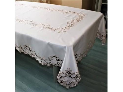 Атласная скатерть круглая/прямоугольная с вышивкой Кружевная роза 524 от ALLTEX в интернет-магазине PannaTeks