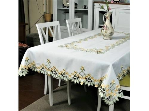 Атласная скатерть на стол прямоугольная с вышивкой Первоцвет 6077 от ALLTEX в интернет-магазине PannaTeks