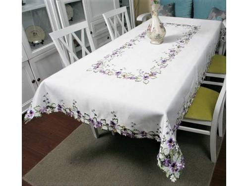 Атласная скатерть круглая/прямоугольная с вышивкой Фиалка Violet 6088 от ALLTEX в интернет-магазине PannaTeks