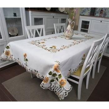 Атласная скатерть на стол прямоугольная с вышивкой Подсолнух фото 2