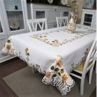 Атласная скатерть на стол прямоугольная с вышивкой Подсолнух