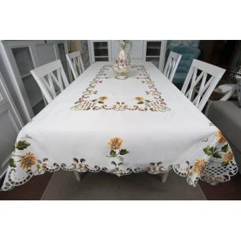 Атласная скатерть на стол прямоугольная с вышивкой Подсолнух фото 1