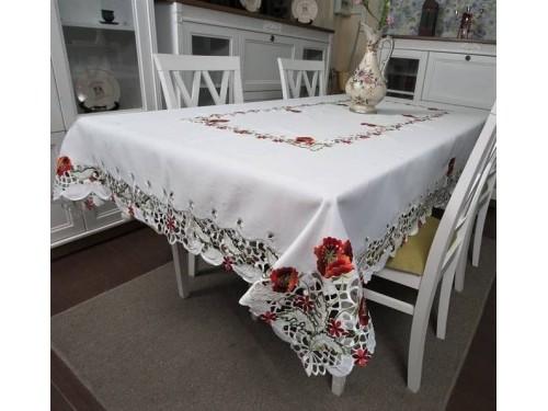 Атласная скатерть на стол круглая/прямоугольная с вышивкой Маки 8502 от ALLTEX в интернет-магазине PannaTeks