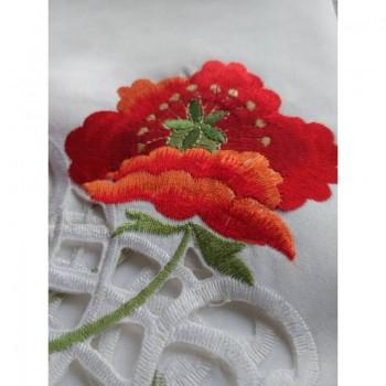 Атласная скатерть на стол круглая/прямоугольная с вышивкой Маки фото 4