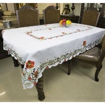 Атласная скатерть на стол круглая/прямоугольная с вышивкой Маки фото 1