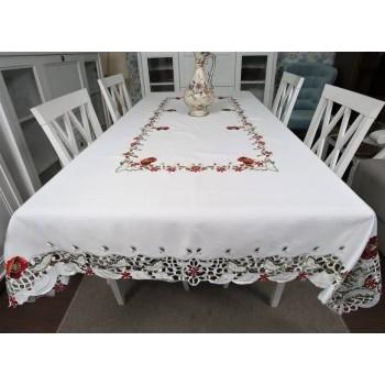 Атласная скатерть на стол круглая/прямоугольная с вышивкой Маки фото 5