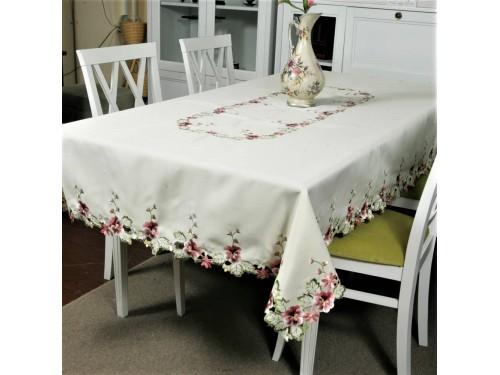Атласная скатерть прямоугольная белая с вышивкой 8702 8702 от ALLTEX в интернет-магазине PannaTeks