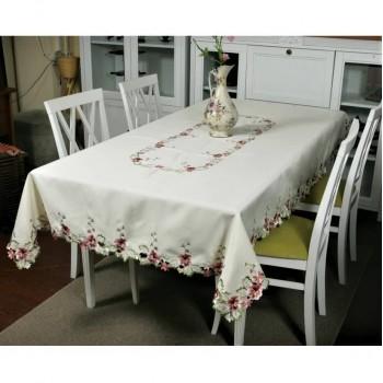 Атласная скатерть прямоугольная белая с вышивкой 8702 фото 2