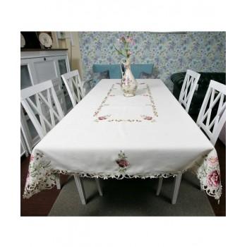 Атласная скатерть на стол с вышивкой прямоугольная 8704 фото 1